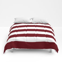 Rosewood - solid color - white stripes pattern Comforters