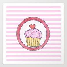 Cupcake and stripes Art Print