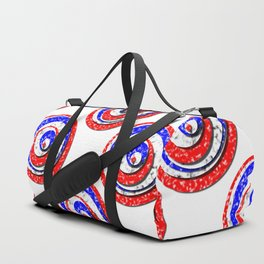 Polka Dot Red White Blue Marble Stacked Tiles Duffle Bag