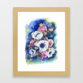 Watercolor anemone roses flowers Framed Art Print