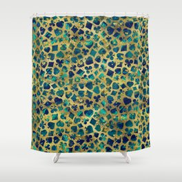 Gold and Marble Suits Pattern Digital Art Shower Curtain
