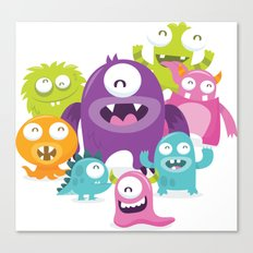 Happy Silly Cute Monsters Bunch Canvas Print