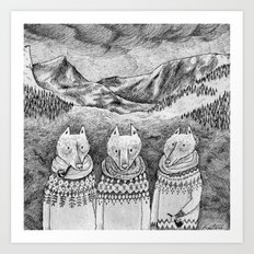 Icelandic foxes Art Print