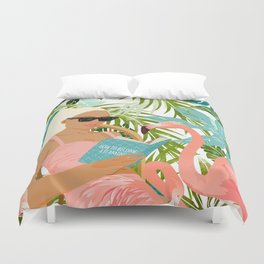 How To Become a Flamingo Illustration, Human Nature Connection, Woman Fashion Travel Duvet Cover