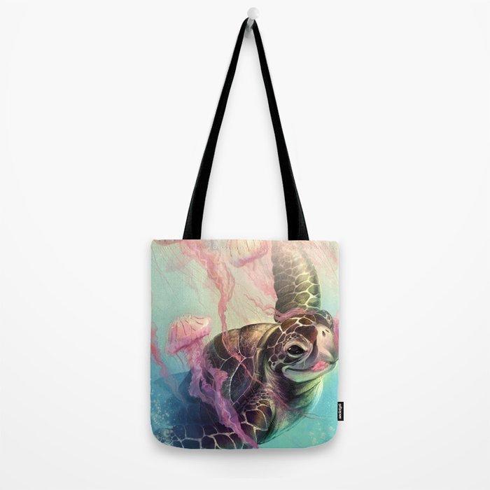 Sea Turtle and Jellyfish! Tote Bag