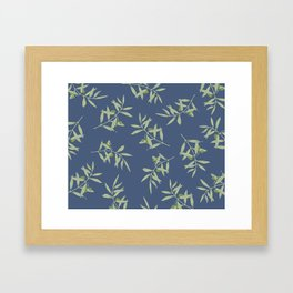 Olive Branch pattern Design - blue Framed Art Print