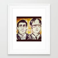 dwight Framed Art Prints featuring Michael & Dwight by Melissa Dilger
