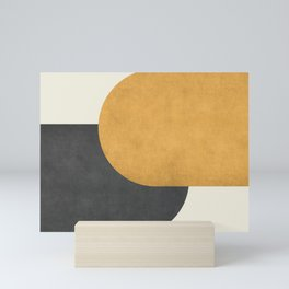 Halfmoon Colorblock - Gold Charcoal Mini Art Print
