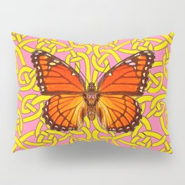 Teal Color Orange Monarch Butterflies Celtic Coral Art Pillow Sham