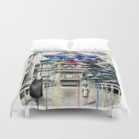 spirited away Duvet Covers featuring Spirited Away by Sandra Ink