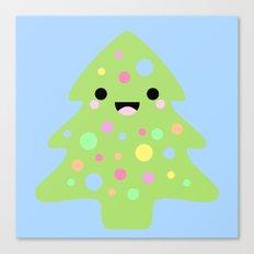 Happy Kawaii Christmas in Blue Canvas Print