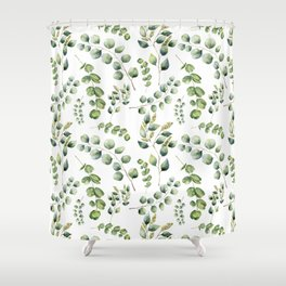 Eucalyptus, Eucalypto leaves, Jungle, Tropical, Green Shower Curtain