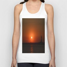 A Sunset With Lady Liberty Unisex Tank Top