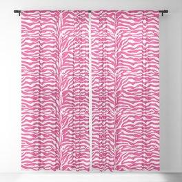 Wild Animal Print, Zebra in Fuchsia Pink and White Sheer Curtain