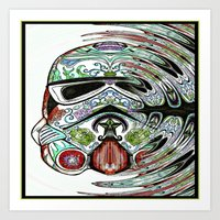 psychadelic Art Prints featuring Psychadelic Storm Trooper by Just Bailey Designs .com
