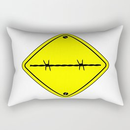 Barbed Wire Warning Sign Rectangular Pillow