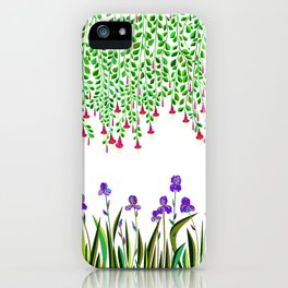 A Colorful Garden of Iris and Trumpets, Hanging Garden iPhone Case