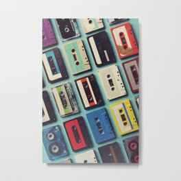 Cassette tape aerial view vintage style collection Metal Print