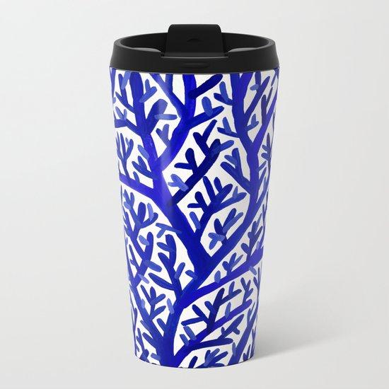 Fan Coral – Navy Metal Travel Mug
