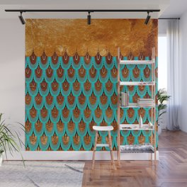 Copper Metal Foil and Aqua Mermaid Scales- Abstract glitter pattern Wall Mural