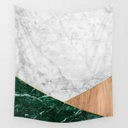 Geometric White Marble - Green Granite & Wood #138 Wall Tapestry