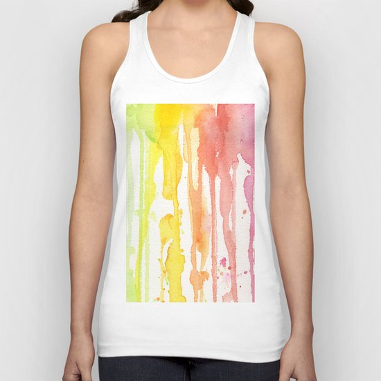 Rainbow Watercolor Texture Pattern Abstract Unisex Tank Top