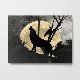 Howling Wolf Crow Moon Animal Black Bird Silhouette Art A388 Metal Print