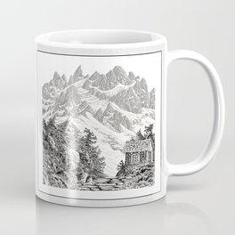 BEYOND MOUNT SHUKSAN BLACK AND WHITE VINTAGE PEN DRAWING Coffee Mug
