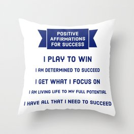 Positive Affirmations for Success Throw Pillow