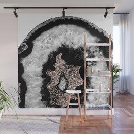 Gray Black White Agate Glitter Glamor #5 #gem #decor #art #society6 Wall Mural