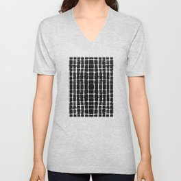 Shibori black horizontal and vertical stripes Unisex V-Neck