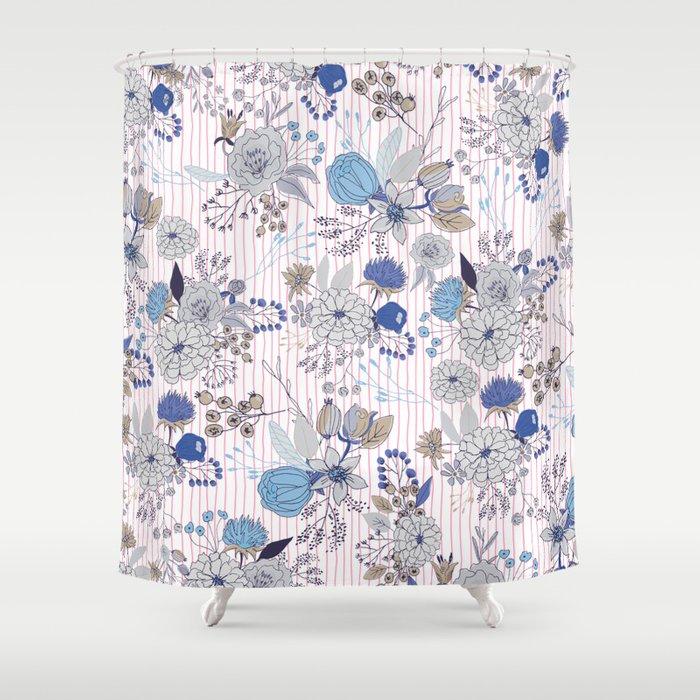 Abstract Rustic Navy Blue Gray Floral Pink Stripes Pattern Shower Curtain By Water