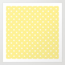 Buttermilk Yellow with White Polka Dots Art Print