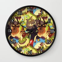 dragons Wall Clocks featuring Dragons! by Flora