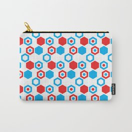 Retro Hexagons - Red White and Blue Carry-All Pouch