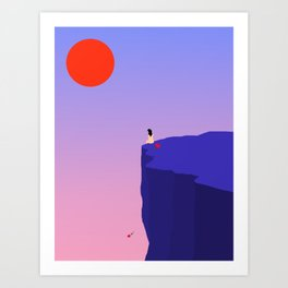 Cliff//Rose Art Print