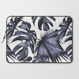 Classic Palm Leaves Navy Blue Laptop Sleeve