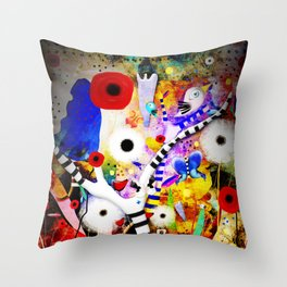 Since you are here - Striped Tree Black and white - Rainbow Abstract Art Throw Pillow