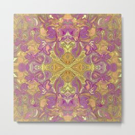 Purple and Gold Floral Abstract Metal Print