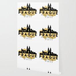 PRAGUE CZECH REPUBLIC SILHOUETTE SKYLINE MAP ART Wallpaper
