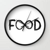 food Wall Clocks featuring FOOD by Sara Eshak