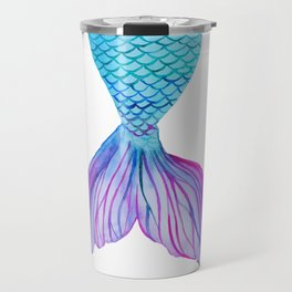 Colorful watercolor mermaid tail Travel Mug