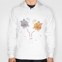 globe Hoodies featuring Cats Globe by Esther Ilustra