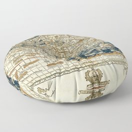 World Map 1482 Floor Pillow