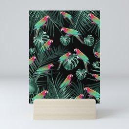 Parrots in the Tropical Jungle Night #1 #tropical #decor #art #society6 Mini Art Print