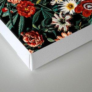 Marijuana and Floral Pattern Canvas Print