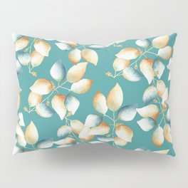 Calming Leaves on Teal Pattern Pillow Sham