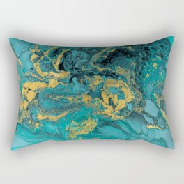 Abstract Pour Painting Liquid Marble Black Blue Teal Painting Gold Accent Rectangular Pillow