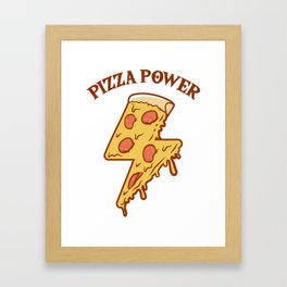 Pizza Power Flash Slice Gift For Pizza Lover Framed Art Print