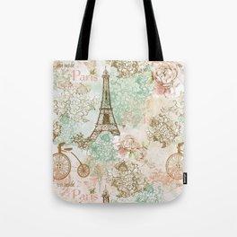 I love Paris - Vintage Shabby Chic - Eiffeltower France Flowers Floral Tote Bag